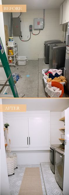 How We Designed a Family Friendly Laundry Room in our Garage - The Reveal! Popular lifestyle blogger Tabitha Blue of Fresh Mommy Blog is SO excited about her garage turned family-friendly laundry room. What started as leftover garage space, turned into removing the popcorn ceiling, to building custom faux cabinets to cover breaker boxes and a built in to hide the ugly utilities, to stencil painting the cement floor and more.
