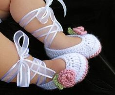 The most precious baby girl crochet ballet slippers ever!