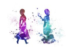 Illustration de Queen Elsa et Anna inspiré ART PRINT, Art pariétal, Home Decor, congelés