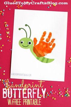 Handprint Butterfly Kid Craft Keepsake w/free printable template