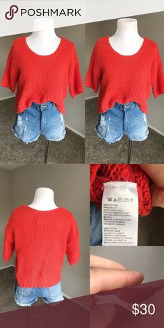 {Urban Outfitters: Kimchi Blue} Cropped Sweater Comfy cozy Cropped Knitted sweater! No holes or stains. *No trades* Urban Outfitters Sweaters Crew & Scoop Necks