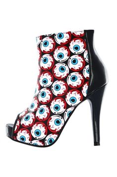 3d15255530e9 Iron Fist Peeping Tom All Over Eyeballs NWT Women s Vegan Peep-toe Bootie  Shoes