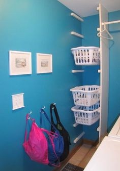 Modified Laundry Basket | Do It Yourself Home Projects from Ana White    Doing this in my bathroom closet! I have an empty, shelf-less closet that needs help! This would do it!!