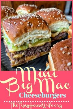 Mini big mac cheeseburgers a perfect recipes for parties or busy weeknight meals. Easy and affordable to make. appetizers for kids Mini Copycat Big Mac Cheeseburgers Roast Recipes, Cooking Recipes, Lentil Recipes, Crockpot Recipes, Hibachi Recipes, Ramen Recipes, Chickpea Recipes, Grilling Recipes, Casserole Recipes