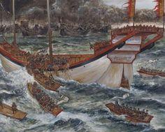 Japanese boats boarding a Mongol ship in Hakata Bay 1281.