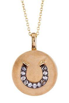 Demitasse Jewelry  14K Yellow Gold Diamond Horseshoe Disc Necklace