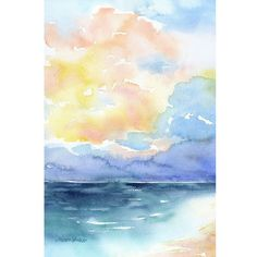 Abstract Beach Ocean/Seascape watercolor giclée reproduction. Portrait/vertical orientation. Printed on fine art paper using archival pigment inks. This quality printing allows over 100 years of vivid
