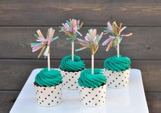 DIY Paper Crafts : DIY Tissue Paper Cupcake Toppers