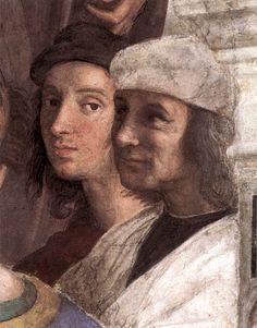 Raffaello Sanzio - The School of Athens (detail, Portrait of Raphael and Perugino) 1509. Fresco.