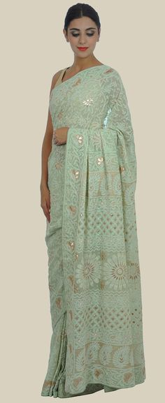 Sage Green Intricate Chikankari and Gota Patti Pure Georgette Saree