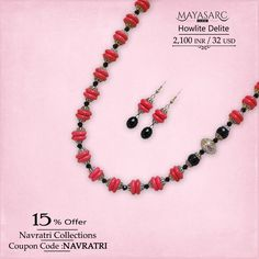 #Navratri Collections - Perky #necklace in Howlite discs & Agates with #bali #beads jewels