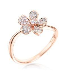 KC Desings - Flower Collection 14K Rose Gold Small Diamond Flower Ring