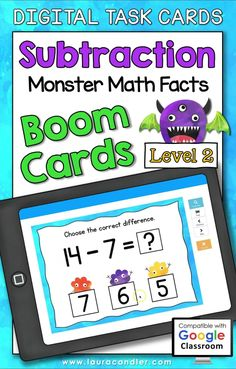 Subtraction Monster Math Facts Level 2 digital self-checking Boom Cards are a fun way for students to develop fluency with subtraction facts.#BoomCards #DigitalTaskCards #DistanceLearning #subtraction #subtractionfacts #mathboomcards #mathfun #mathfactpractice Engage In Learning, Learning Centers, Teacher Hacks, Best Teacher, Active Engagement, Math Fact Practice, Kindergarten Class, Math Facts, Fun Math