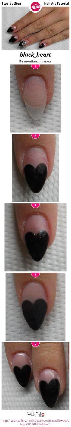 black_heart by monikazbijowska - Nail Art Gallery Step-by-Step Tutorials nailartgallery.nailsmag.com by Nails Magazine www.nailsmag.com #nailart by Tinemor