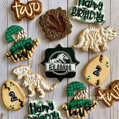 3 Year Old Birthday Party, Birthday Party At Park, 2nd Birthday Party Themes, Dinosaur Birthday Party, Third Birthday, Birthday Ideas, Jurassic Park, Jurassic World, Dinosaur Cookies