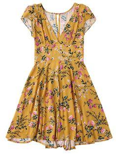 3a4a2568d2d079 Floral Plunging Neck Cut Out Dress