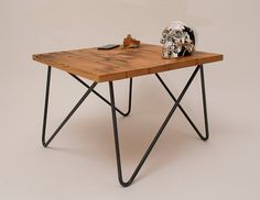 Hairpin Legs for sale...Reclaimed wood beam coffee table with asymmetrical by Kodastudios, £95.00