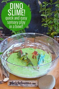Quick and easy sensory play in a mixing bowl! Need to engage your child in some independent play? Don't have time for a fancy activity? Set up some dino slime - easy sensory play in a bowl! Dinosaur Theme Preschool, Dinosaur Play, Dinosaur Activities, Sensory Activities, Preschool Activities, Play Activity, Preschool Projects, Dinosaur Crafts Kids, Preschool Class