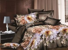 Vintage Style Rose and Peony Print 4-Piece Duvet Cover Sets #3d #bedding