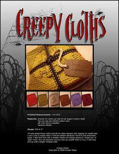 Ravelry: Halloween Creepy Cloths pattern by Kris Knits Dishcloth Knitting Patterns, Loom Knitting, Knit Patterns, Clothing Patterns, Hand Knitting, Knitted Washcloths, Crochet Dishcloths, Knit Crochet, Halloween Crochet
