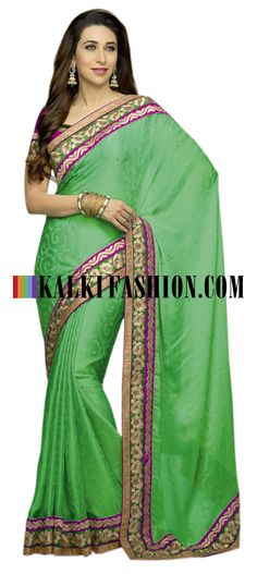 Buy it now  http://www.kalkifashion.com/green-crepe-saree-with-self-design-with-border-work.html Green crepe saree with self design with border work