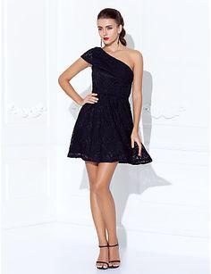 One Shoulder Short/Mini Lace Cocktail Dress