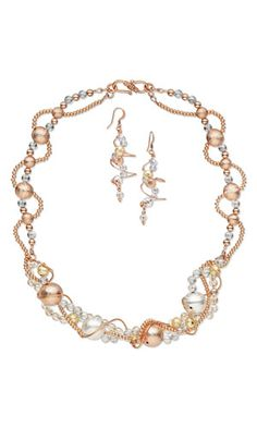 Multi-Strand Necklace and Earring Set with Copper Beads, SWAROVSKI ELEMENTS and Wirework - Fire Mountain Gems and Beads