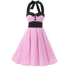 Black Collars Big Buttons Pink White Mini Polka Dot 1950s Inspired... (32 AUD) ❤ liked on Polyvore featuring dresses, short cocktail dresses, vintage dresses, vintage mini dress, white mini dress and halter top