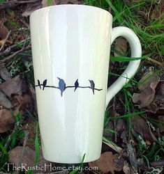 Birds on a branch tall pottery coffee mug tea by TheRusticHome, $22.00