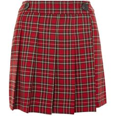 Topshop College Checked Kilt ($43) ❤ liked on Polyvore featuring skirts, mini skirts, topshop, red, mini skirt, checkered mini skirt, topshop skirts, topshop mini skirt and checkered skirt