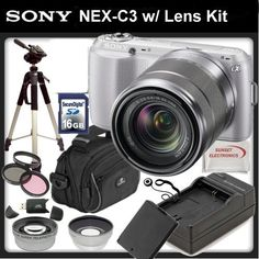 Sony Alpha NEX-C3 Digital Camera (Silver) with Sony E-Mount 18-55mm Lens + SSE Professional Package. Includes: 0.45x Wide Angle Lens, 2x Telephoto lens, 3 Piece Filter Kit (UV,CPL,FLD,) 16GB SDHC Memory Card, Additional Replacement FW50 Battery Pack, Rapid Travel Charger, Pro Tripod, Soft Carrying Case, and much much more by Sony. $479.45. This Kit Includes:  1- Sony Alpha NEX-C3 Digital Camera (Silver) 1- Sony E-Mount SEL 1855 18-55mm f/3.5-5.6 Zoom Lens for Alpha NEX Cam...