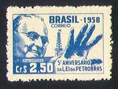 ANOS DOURADOS: IMAGENS & FATOS: IMAGENS - Velharia: Selos antigos  Aniversário da criação da Lei da Petrobrás  (1958)