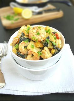 Creamy Shrimp, Potatoes, and Kale - a delicious and healthy one dish meal, ready in just 30 minutes! {Gluten and Grain Free}