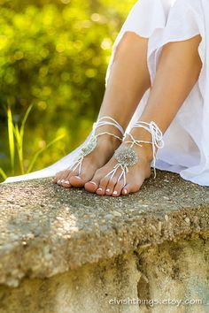 Beach wedding barefoot sandals White footless sandles Beaded bottomless sandals Soleless sandals Hippie foot jewelry Yoga bare foot sandals by ElvishThings