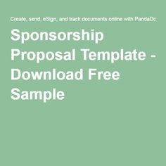 Dissertation proposal on sponsorship