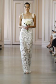 Very pretty - love this fresh look & less traditional styling, but still elegant! Oscar de la Renta Bridal: Spring 2016 - HarpersBAZAAR.com