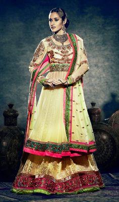 USD 212.3 Yellow Net Designer Wedding Lehenga Choli 29135