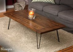 Planked Farmhouse Top Coffee Table with Hairpin Legs by Blissopia, $215.00