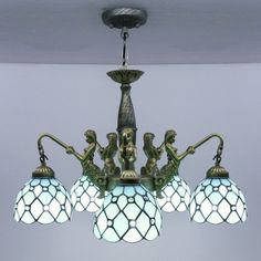 Buy Mermaid Supported 24 Inch Five-light Chandelier in Tiffany Stained Glass Style with Lowest Price and Top Service!