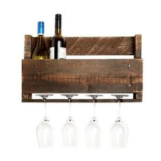 Laurel Foundry Modern Farmhouse Kindred 4 Bottle Wall Mounted Wine Rack