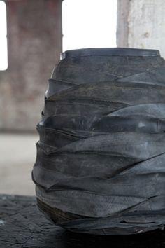 Moniek Vanden Berghe  for  Serax Belgium: recycled rubber tire vessel.