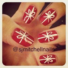 Christmas present nail art.