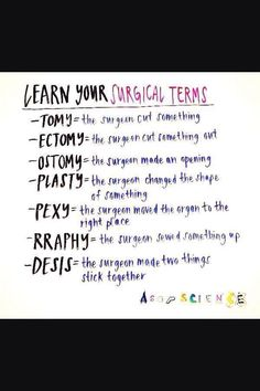 Learn your surgical terms! This is a lifesaver for students in the operating room. Just a cutesy lil FYI This is so helpful. Especially when youre reading a patients medical history doctors progress notes nursing notes nursing exams nclex etc. Nursing School Notes, Nursing Schools, Nursing Procedures, Nursing School Humor, Nursing School Graduation, Graduation Post, Pa School, Medical School, Pharmacy School