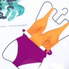 """328 curtidas, 2 comentários - Moeva London (@moeva_london) no Instagram: """"Orange meets Fuschia on our Betsy one-piece with removable belt! #moeva #moevalondon…"""""""