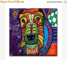 60% Off Today- Airedale Terrier art Tile Ceramic Coaster Mexican Folk Art Print of painting by Heather Galler Dog (HG106)