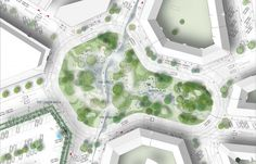 Architecture studio Tredje Natur is redesigning a Copenhagen neighbourhood to better handle the floods expected as climate change leads to fewer but heavier rain storms. Architecture Student, Architecture Plan, Landscape Architecture, Architecture Graphics, Site Development Plan, Landscape Design Plans, Landscape Diagram, Urban Landscape, Sustainable City