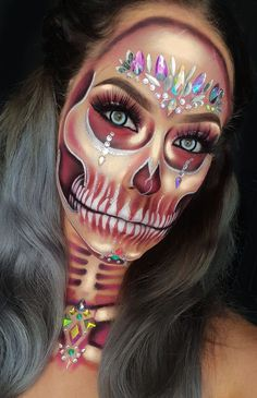 Pin By Shaye Webb On Sfx Makeup Acirc Nbsp Iuml Cedil Haloween Makeup Halloween Devil Makeup, Scary Makeup, Sfx Makeup, Costume Makeup, Amazing Halloween Makeup, Halloween Makeup Looks, Helloween Make Up, Sugar Skull Makeup, Halloween Makeup Sugar Skull