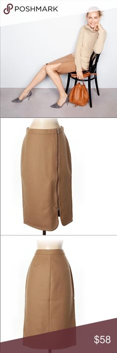 """NWT J. Crew Skirt SIZE 2T!  New with Tag. Never worn. Excellent Condition. Waist 28"""". Hip 38"""". Length 26.5"""".  PRODUCT DETAILS Thanks to a curved tulip hem and an exposed front zipper, this sleek wool pencil skirt is equal parts pretty and tough. Wear it to work and wear it on the weekend, just don't bother hanging it up before next summer.  Wool. Lined. Dry clean. Import. Online only. Item E1078. J. Crew Skirts"""