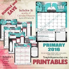 HUGE Bundle of matching Printable Primary Presidency 2016 I Know the Scriptures are True theme Calendars Planners and Add-Ons Save by templesquares on Etsy