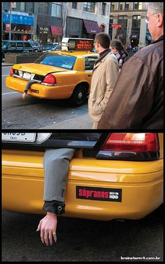 cool-and-creative-guerilla-marketing-campaigns: Ad for The Sopranos on HBO. Creative Advertising, Guerrilla Advertising, Advertising Campaign, Advertising Design, Ads Creative, Street Marketing, Marketing Viral, Marketing And Advertising, Online Marketing